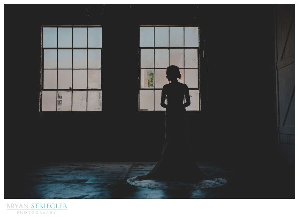 bridal portrait silhouette in front of windows