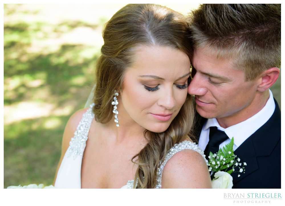 high angle portrait of bride and groom