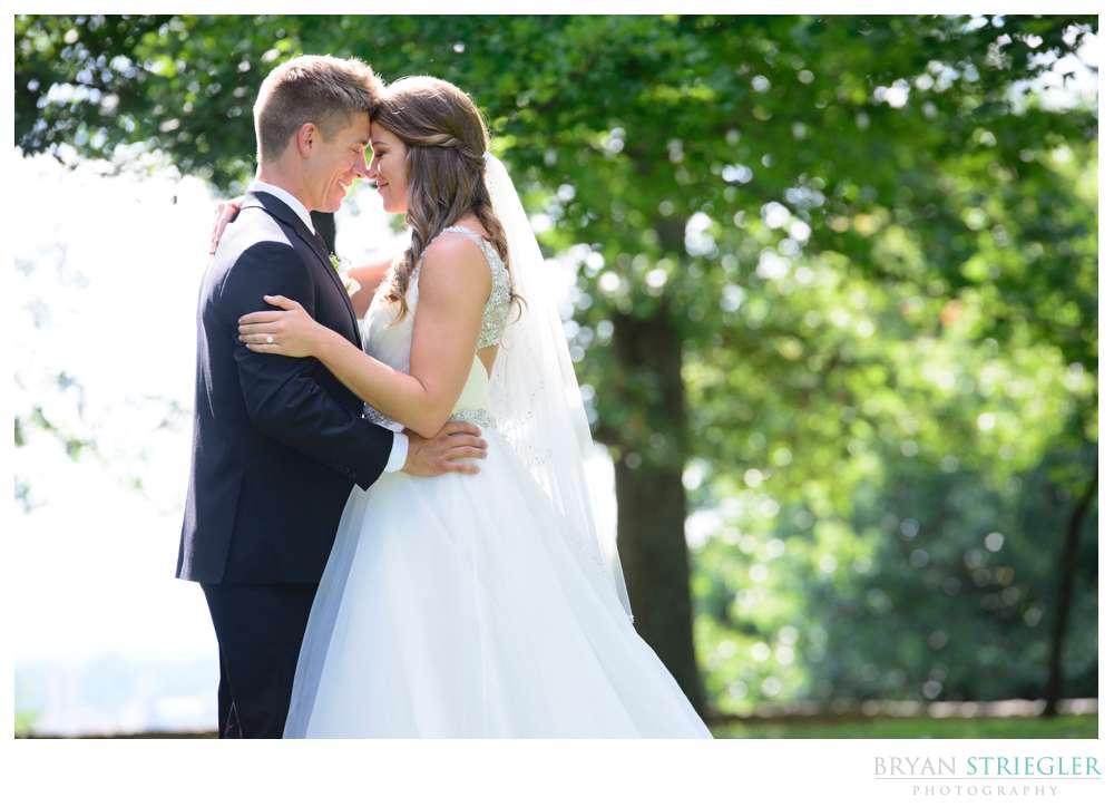 bride and groom hugging close