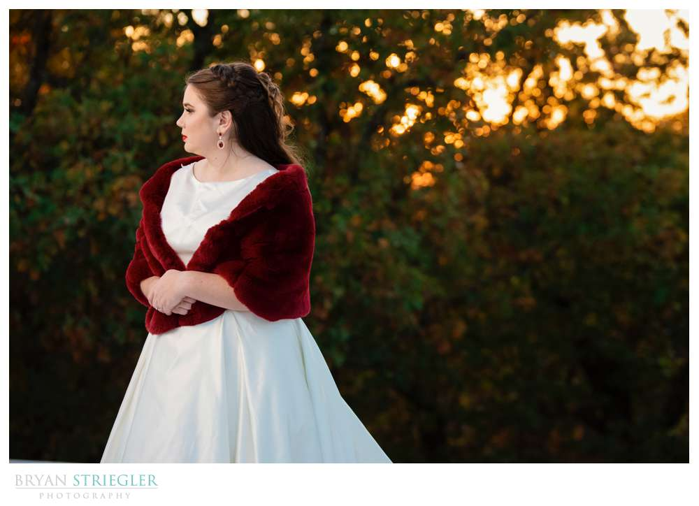 bridal session with setting sun