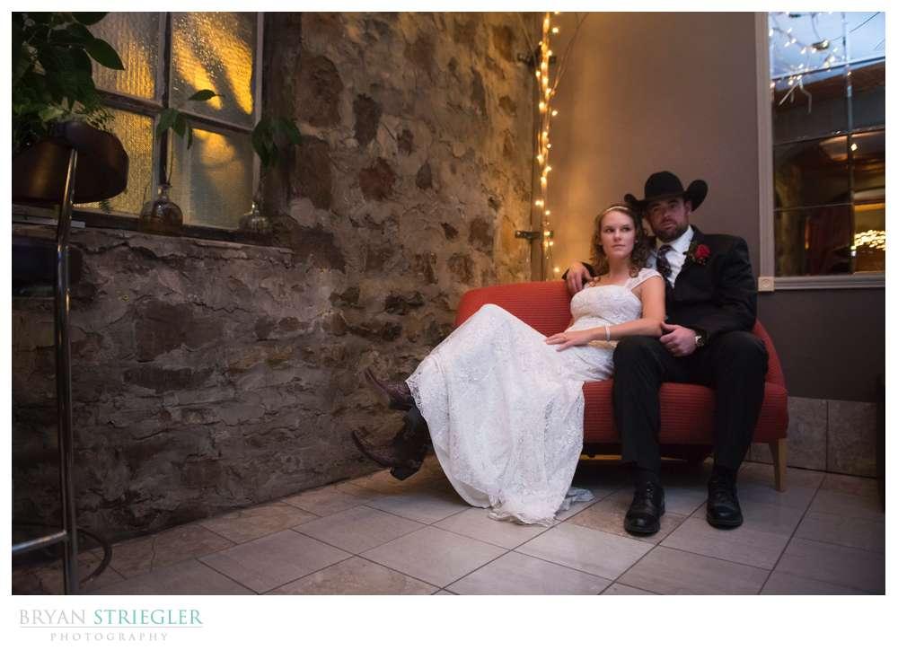 couple portrait in corner of Teatro Scarpino