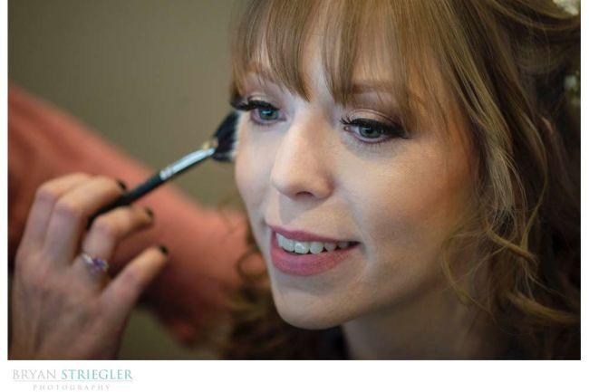 close up of bride with makeup