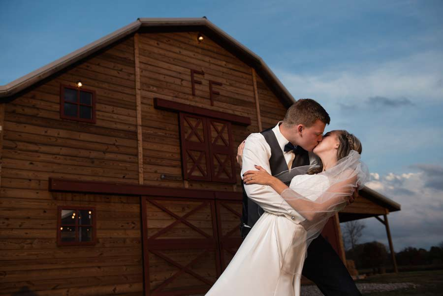 wedding in front of Fritchie Farms wedding venue