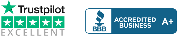 Trustpilot rated excellent and A+ on BBB