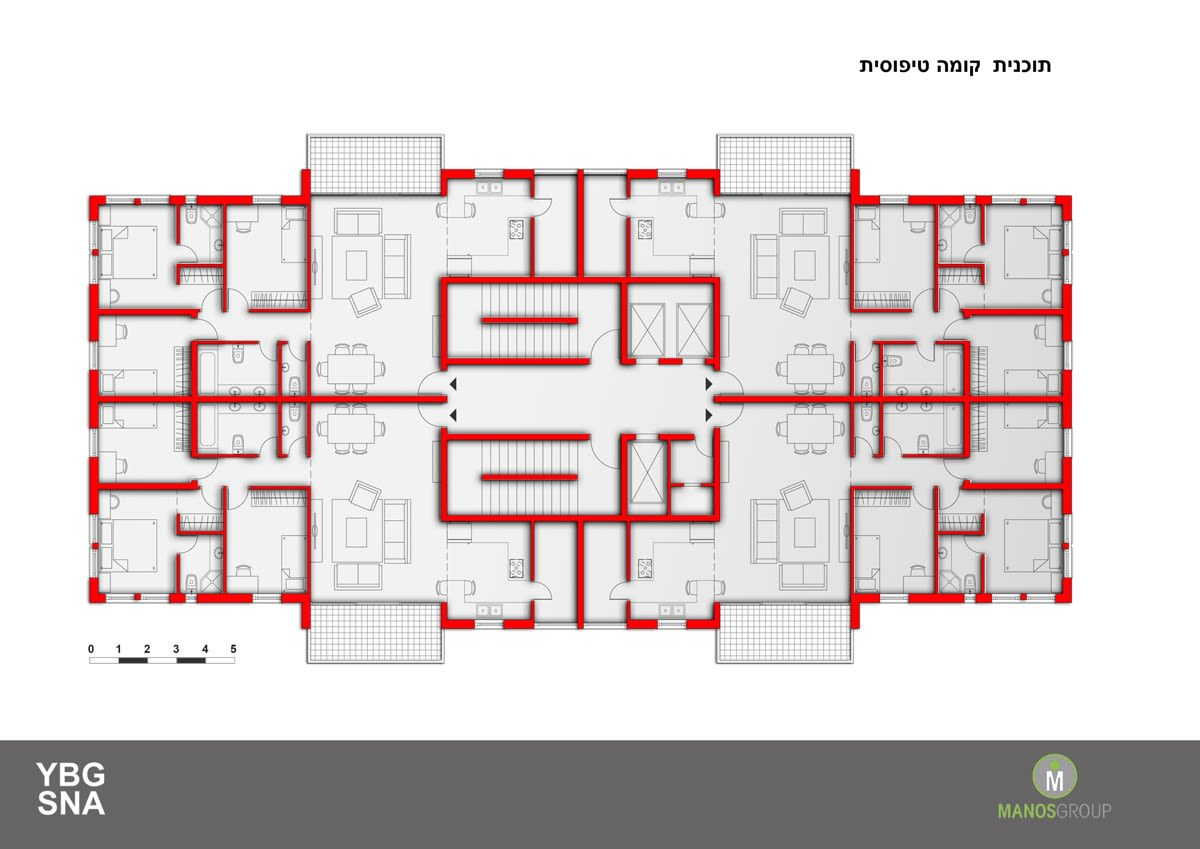 Pinui Binui à Jérusalem – Uruguay, Kiryat Ha'Yovel – Plan d'étage typique