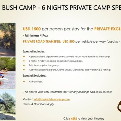Mawimbi Bush Camp - 6 Nights private camp special  image