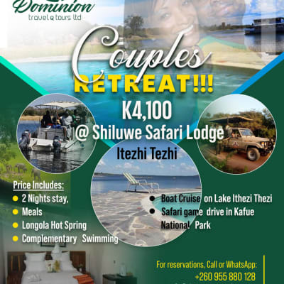 Couples Retreat K4,100 - Shiluwe Safari Lodge Itezhi Tezhi image