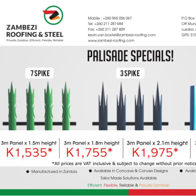 Palisade Fencing manufactured by Zambezi Roofing and Steel image