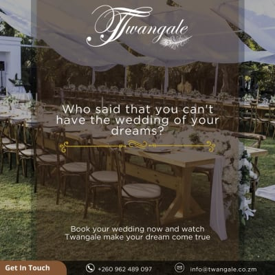 Book your wedding now and watch Twangale make your dream come true image