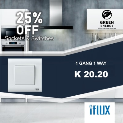 25% Off iFlux 1 Gang 1 Way switch image