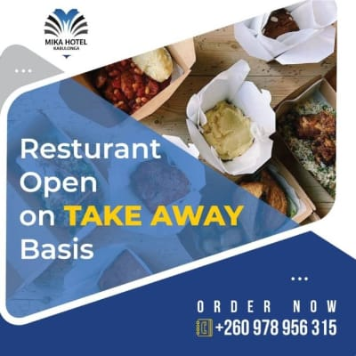Mika Kabulonga restaurant is now open on take away basis  image