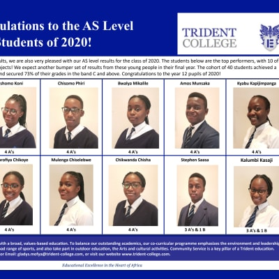 Congratulations to the AS Level students of 2020 image