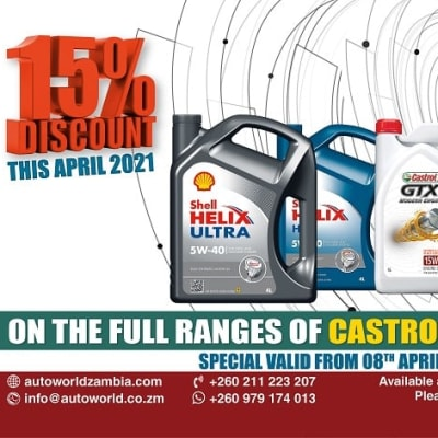 April 2021 special on Castrol and Shell lubricants from Autoworld image