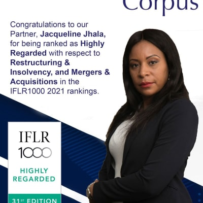 Congratulations to Jacqueline Jhala on her recognition as Highly Regarded in the IFLR 1000 2021 ranking image