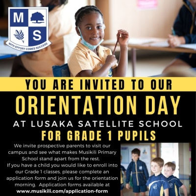 You are invited to orientation day for grade 1 pupils in Lusaka image