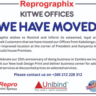 Moved to Kitwe Office image