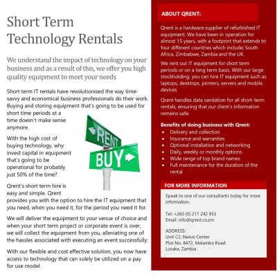 Short term technology rentals image