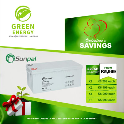Sunpal 220 AH Gel battery on special offer image