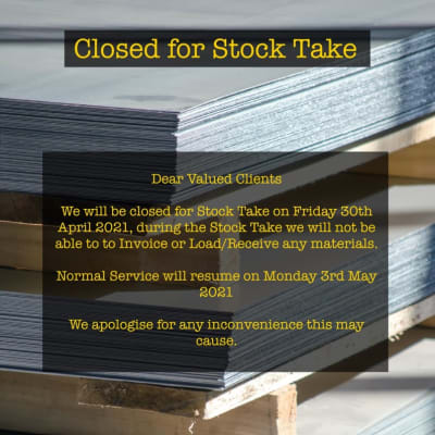 Closed for Stock Take - Friday 30th April image