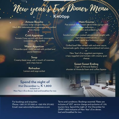New years Eve dinner menu - Lusaka Tower image