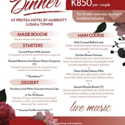 Valentine's Dinner at Protea Hotel by Marriott Lusaka Tower-  image