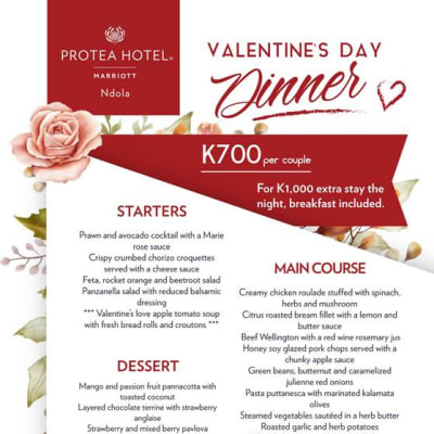 Protea Ndola Valentines Dinner + optional Overnight Package image