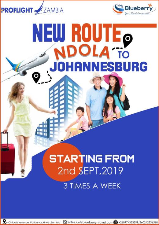 New route Ndola to Johannesburg