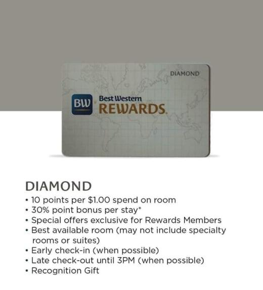 Join Best Western reward today! Enjoy great benefits of Diamond Membership!!