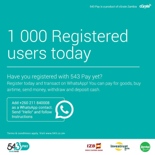 Have you registered with 543 pay yet?