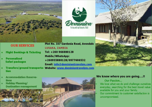 One-stop travel shop offering tailor-made travel packages within Zambia and Southern Africa