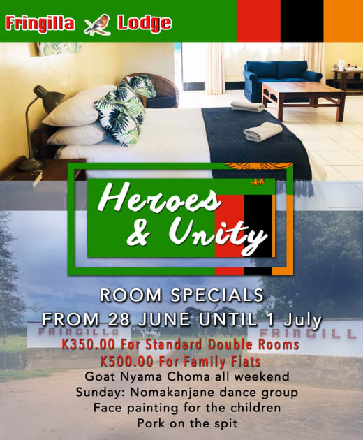 Relax and enjoy this Heroes and Unity weekend at Fringilla Lodge