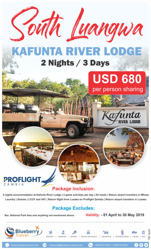 2 Nights/ 3 days package - Kafunta River Lodge