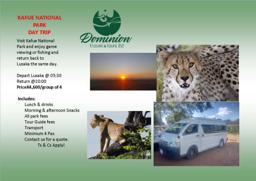 Kafue National Park day trip with Dominion Travel and Tours