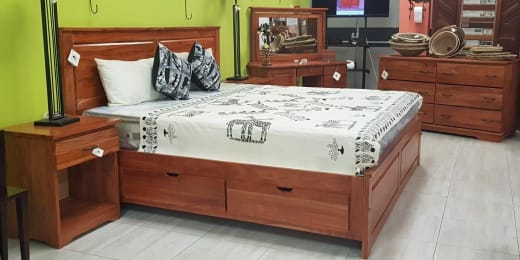 Beautiful bedroom suite furniture in natural teak