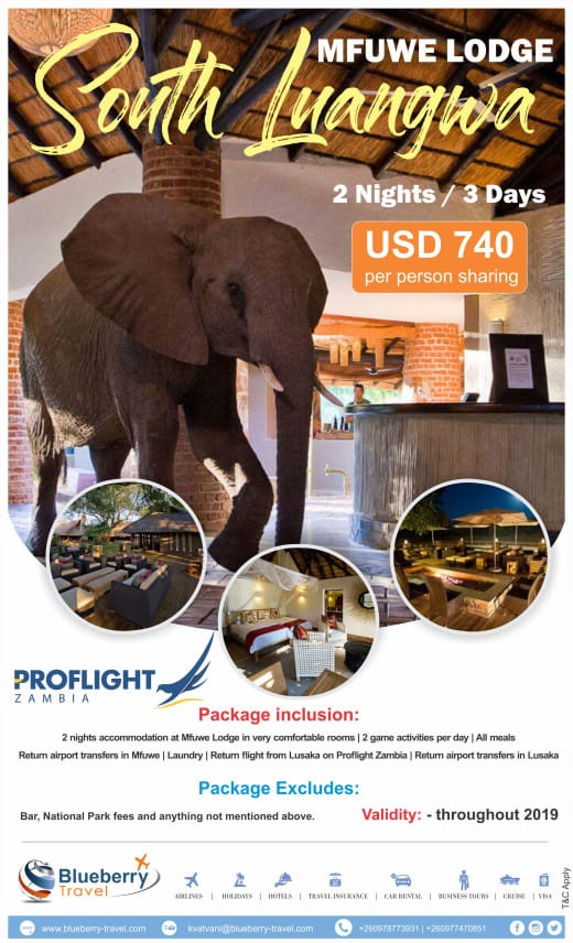 Mfuwe lodge - 2 Nights / 3 days package in South Luangwa