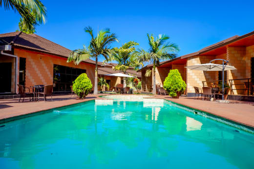Escape the heat and relax by the pool side