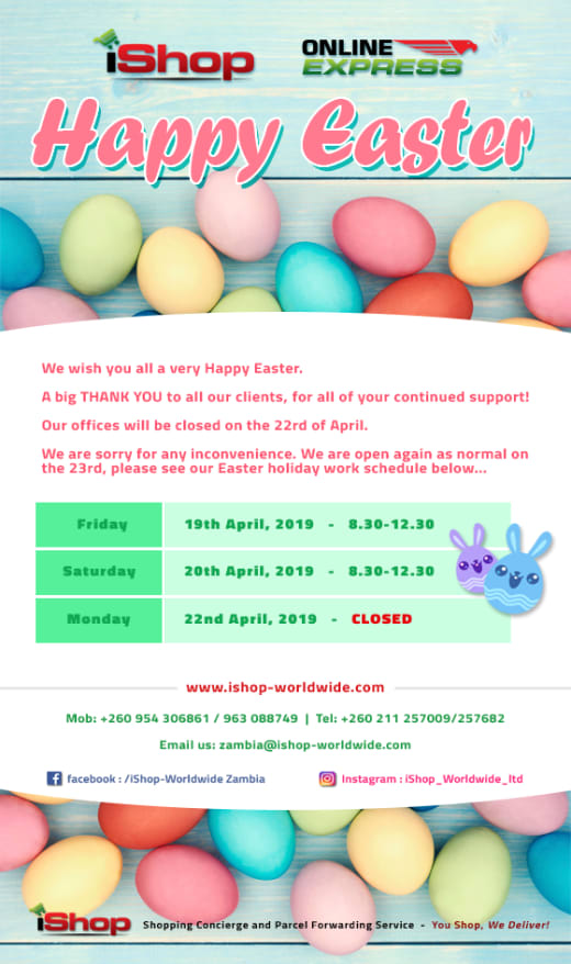 Opening hours during Easter Holiday