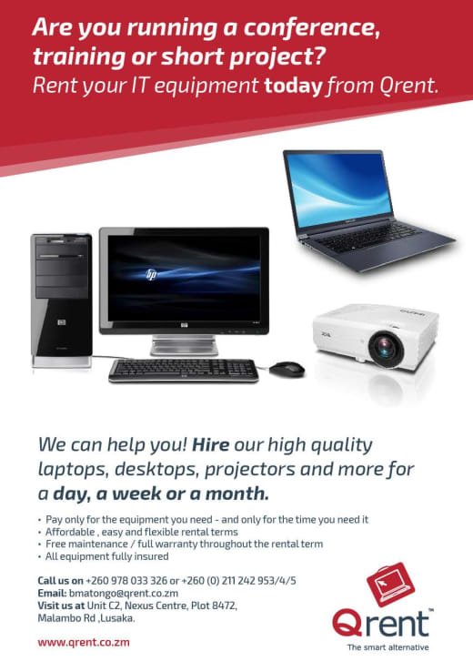Are you running a confrence, training or short project? Rent your IT equipment today from Qrent