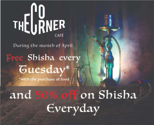 Special offer on Shisha at Corner Cafe!