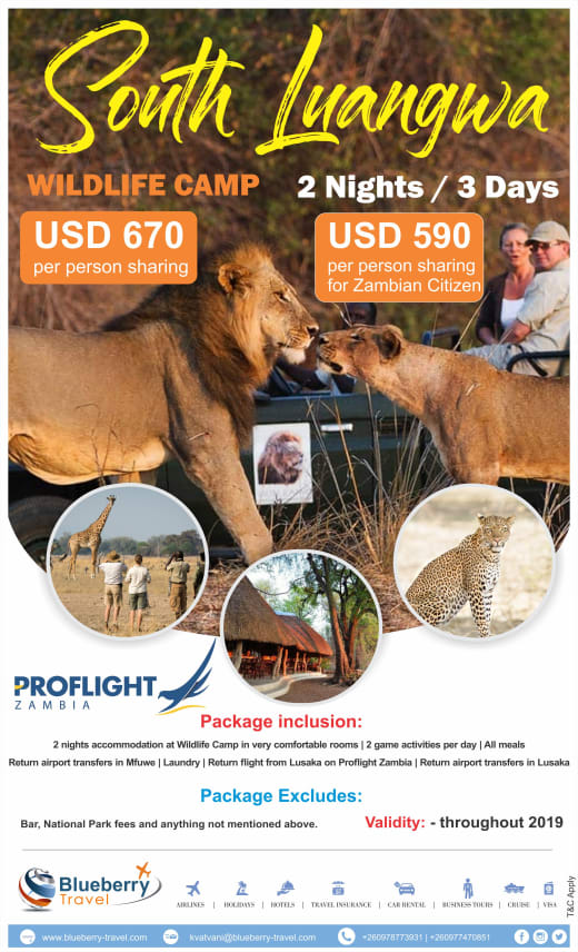 2 Nights/ 3 Days stay at Wildlife Camp, South Luangwa