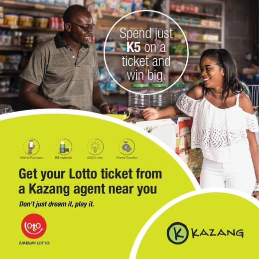 Lottery tickets available from Kazang agents