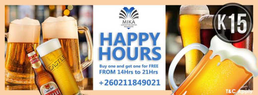 Happy hour daily: Buy one drink and get another free