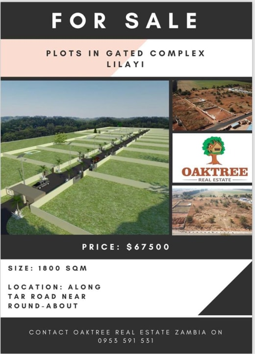 Plots for sale in gated complex in Lilayi