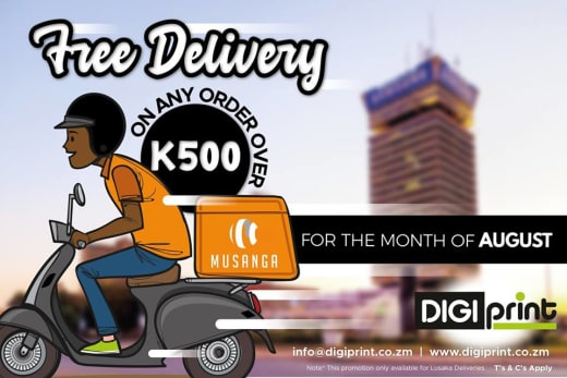 August offer: free delivery on orders over K500