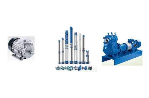 Energy efficient centrifugal, submersible and di-watering pumps