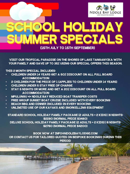 School summer holiday specials at Ndole Bay