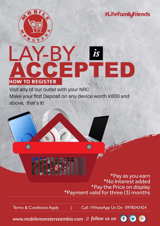Lay-by payments available on any device over K800