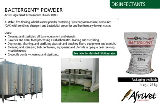 Bactergent powder – Active ingredient benzalkonium chloride (QAC)