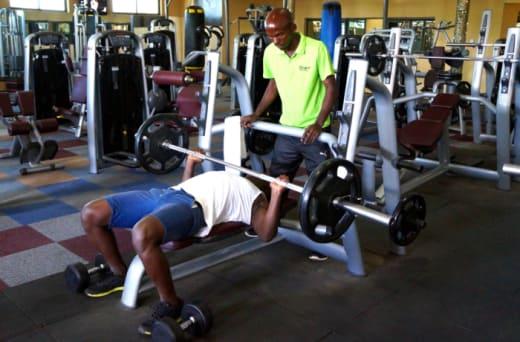 Sauna, steam bath and a fitness trainers