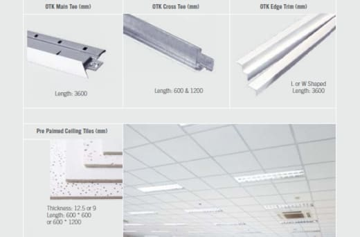 Products for ceilings and partitioning